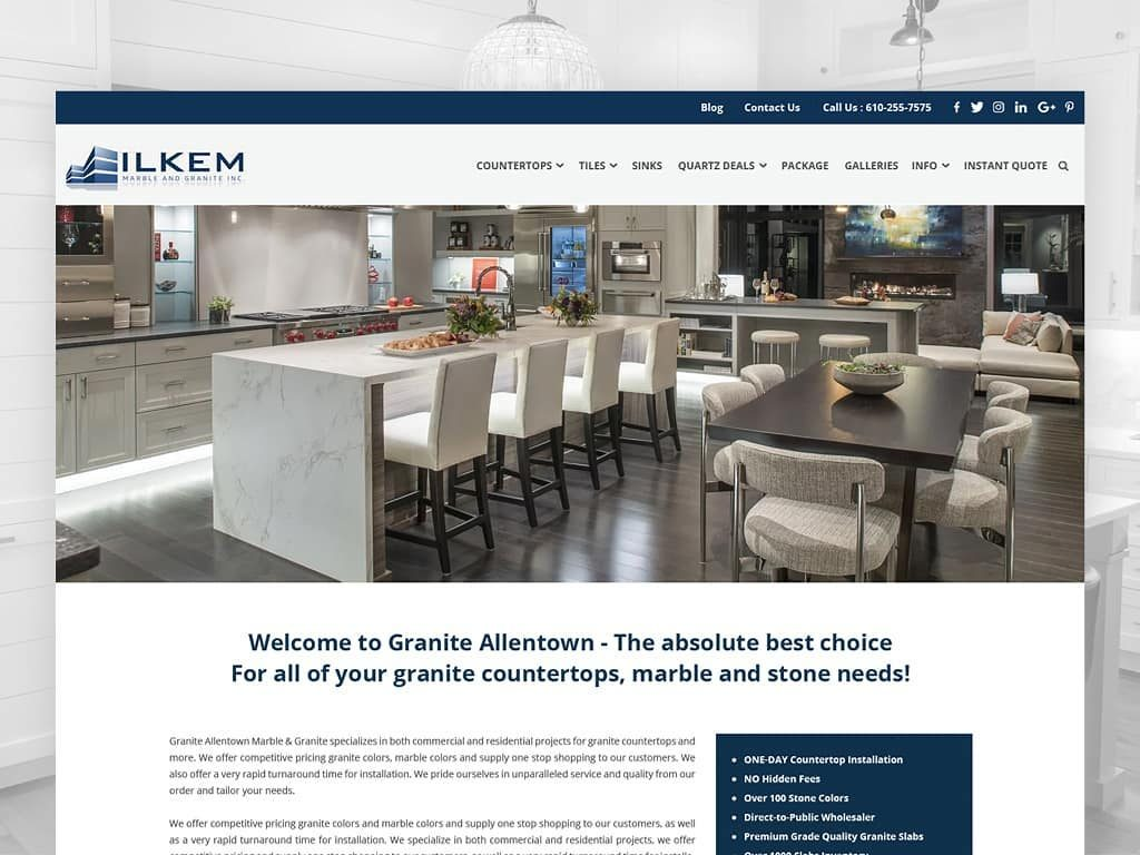 Ilkem marbles granite, Website design in Allentown, Web Design in Allentown, Web design in Pennsylvania, Custom website design