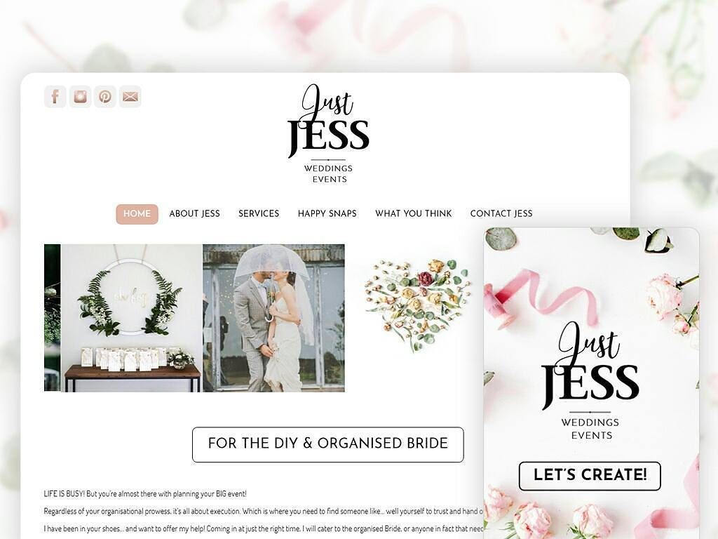 Web design in Sydney, Web design in NSW, Justjess Wedding & Events, Wedding & Events Planner Web Design, Custom Website Design